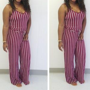 Pants - Plus size strip jumpsuit